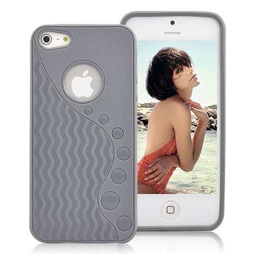 Stylish Wave-like Pattern Matte TPU Case For iPhone 5 - Grey