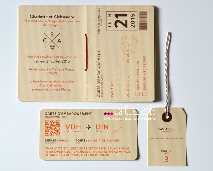 Faire-Part Passeport Mila | La Crafterie Passport/Travel wedding invitation