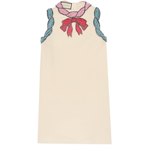 Gucci Stretch Viscose Dress With Velvet Trim ($3,500) ❤ liked on Polyvore featuring dresses, ivory, new dresses, ready-to-wear, women, multi coloured dress, winter white dress, pink bow dress, multi-color dress and light pink dress