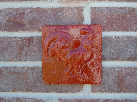 rooster concrete red tile by concreteyarddecor on etsy 700 - Concrete Tile Garden Decor