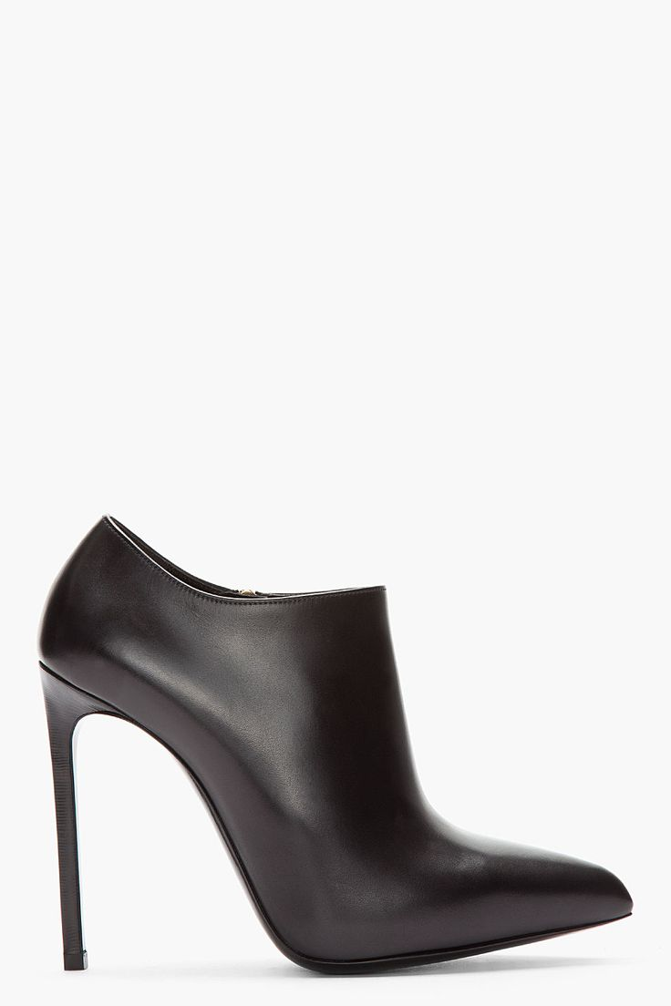 Saint Laurent Black Paris Brest Ankle Boots -  Saint Laurent Black Paris Brest Ankle Boots Saint Laurent Buffed leather ankle boots in black. Pointed toe. Zip closure at interior face. Flared collar. Leather sole in black. Tonal stitching. Approx. 4.5 stiletto heel. Price $930.00 Click HERE for more Information