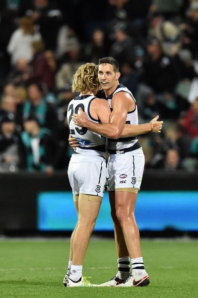 AFL Rd 5 - Port Adelaide v Geelong - Guthrie + Taylor celebrate the win