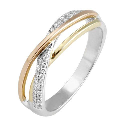 Pierścionek z białego, różowego i żółtego złota  z brylantami o łącznej masie 0,30 ct. Próba 0,585
