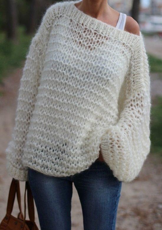Para te proteger do frio - Blusa em tricô super fácil de fazer! Temos diversas opções de lãs para fazê-la! Lãs lisas, mescladas, trabalhadas, com brilho, metalizadas e a que brilha no escuro!!