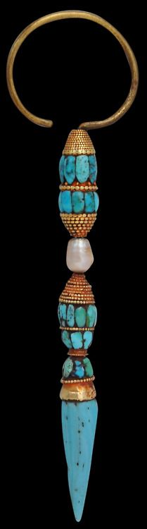 Official's Ear Pendant, Lhasa, Tibet        Turquoise, pearl, gold
