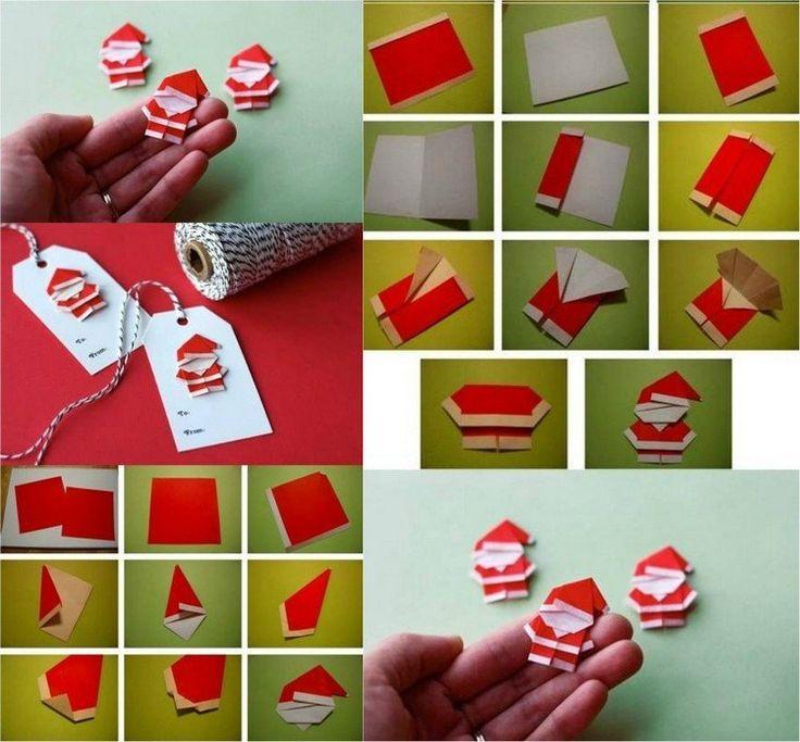 des marque-places décorés de petits Pères Noël en papier rouge et blanc