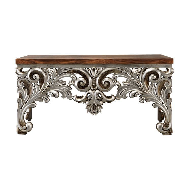 Kansas Console   Laskasas   Decorate Life   www.laskasas.com   Kansas is a mesmerizing console devised masterfully, rich in details, customizable, here with wood-paneled top and silver carved finishes on the base.