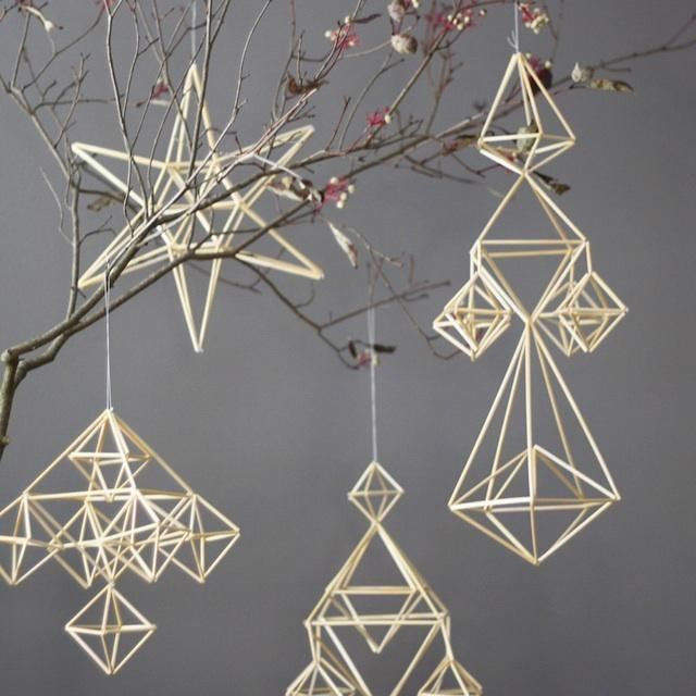 Natural Straw Modern Mobile: Himmeli No. 1..because the possibilities (and colours, and configurations) seem endless