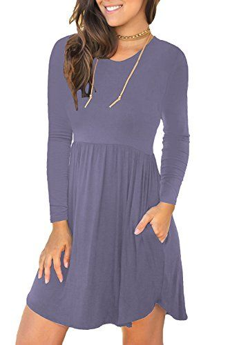 1825e69401e5 Unbranded Women's Sleeveless Loose Plain Dresses Casual Short Dress with  Pockets.Features: round neckline,long sleeve,elastic … | Fashion for  everyone.