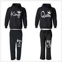 Wish | King Queen Couple Matching Set Hoodie and Sweatpants His Queen and Hers King Set