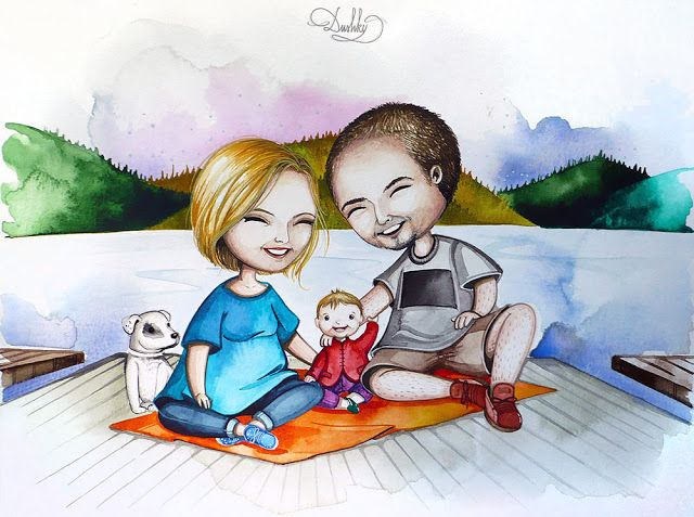 portrait by #dushky | #art #illustration #watercolor #portrait #nature #outdoor #family