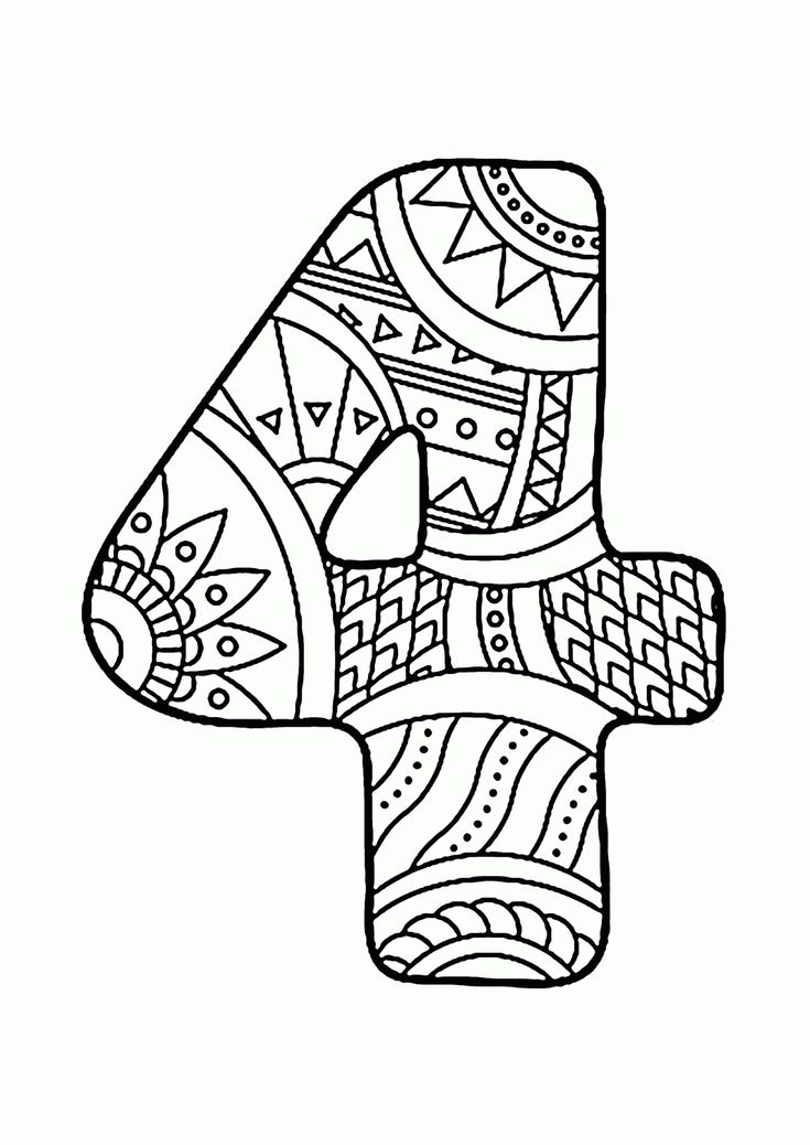 Pattern Number 4 coloring pages for kids, counting numbers ...
