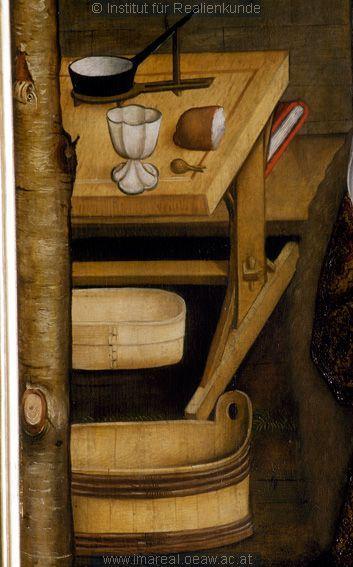 Tisch, Pfannenhalter, Spanschachtel: