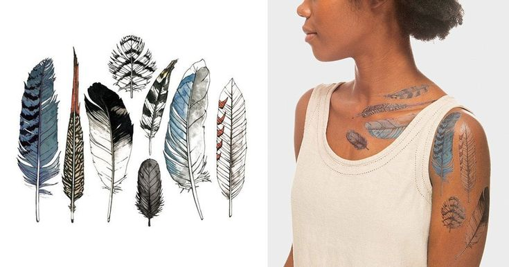 Illustrated by Natasha Lawyer, the Tattly Watercolor Feather Tattoo set lets you connect with your spirit animal, no long-term commitment required.