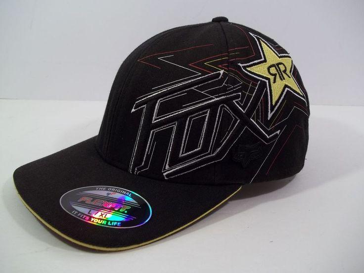 Rockstar Energy Drink Fox Racing  Black Cap Hat - FLEXFIT - SIZE L/XL #Flexfit #HatCap