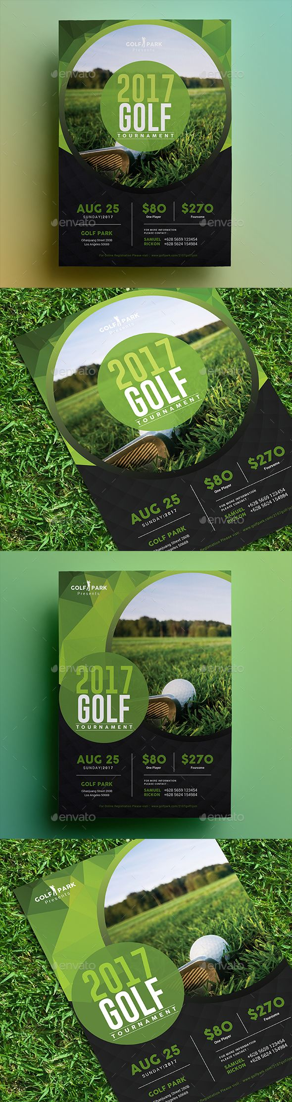 Golf Tournament Flyer 02 by aarleykaiven Golf Tournament Flyer, can be used for your company event, charity event, etc File Features : 2 PSD Designs Size A4 (8.2x11.6