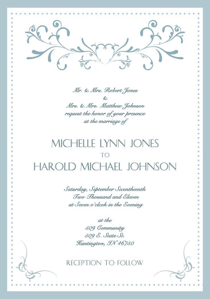 Samples Of Wedding Invitations Cards Wording Invitation Photo