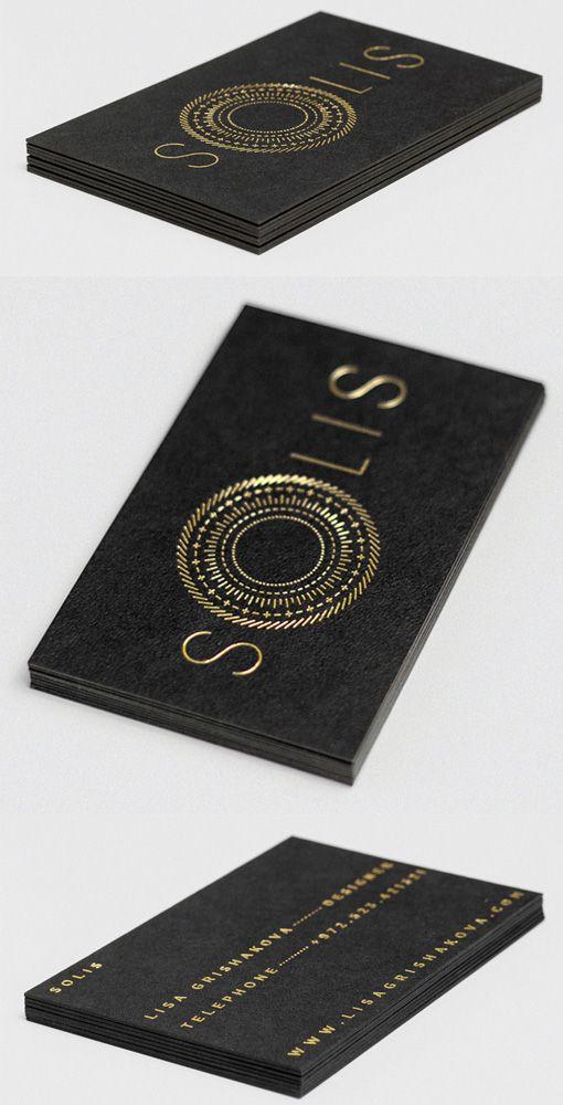 Luxurious Gold Foil On Black Business Card Design