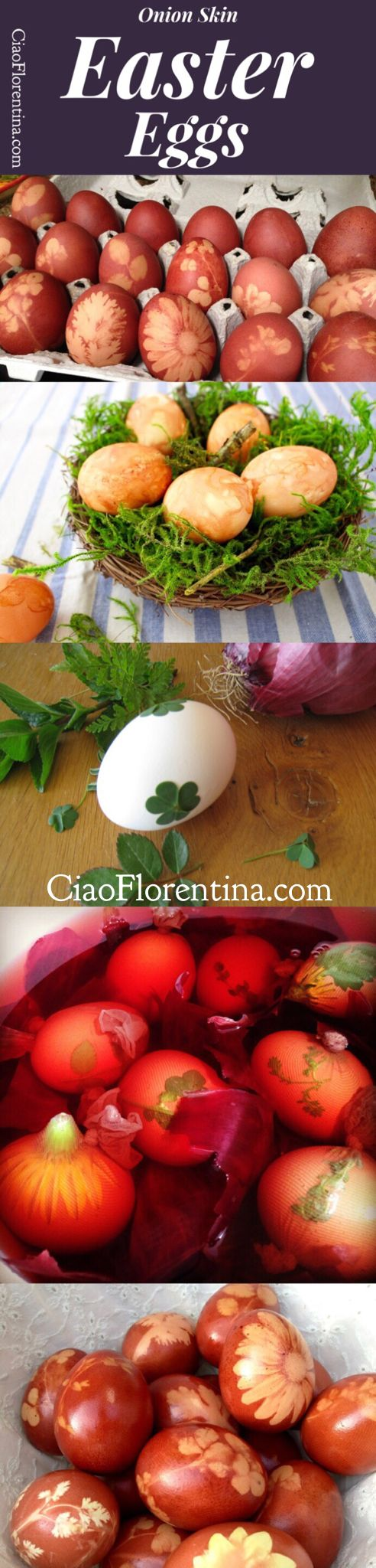 DIY Onion Skin Easter Eggs with Herbs and Flowers | CiaoFlorentina.com @CiaoFlorentina