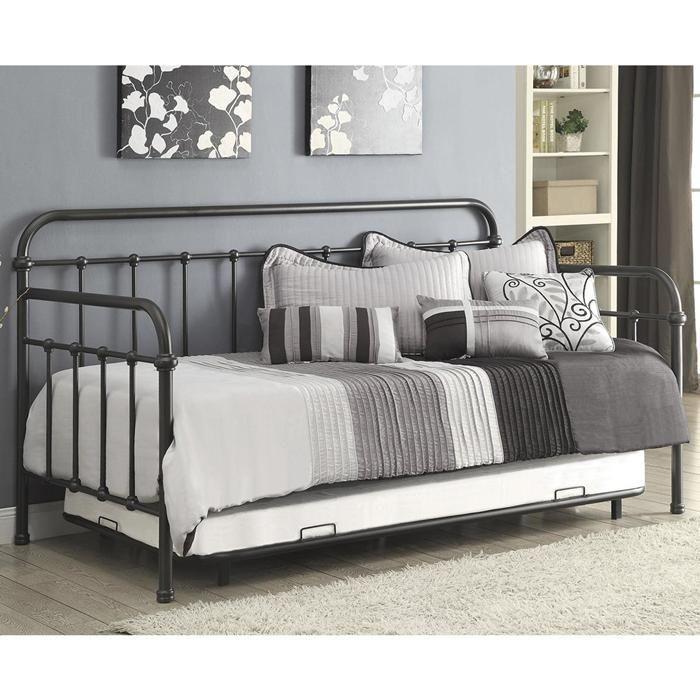 Twin Daybed with Trundle in Dark Bronze   Nebraska Furniture Mart