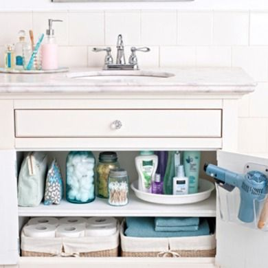 Bathroom Storage.  Mason jars, baskets for soft, light items.  Spice round rack for lotions and potions - spin vice digging.