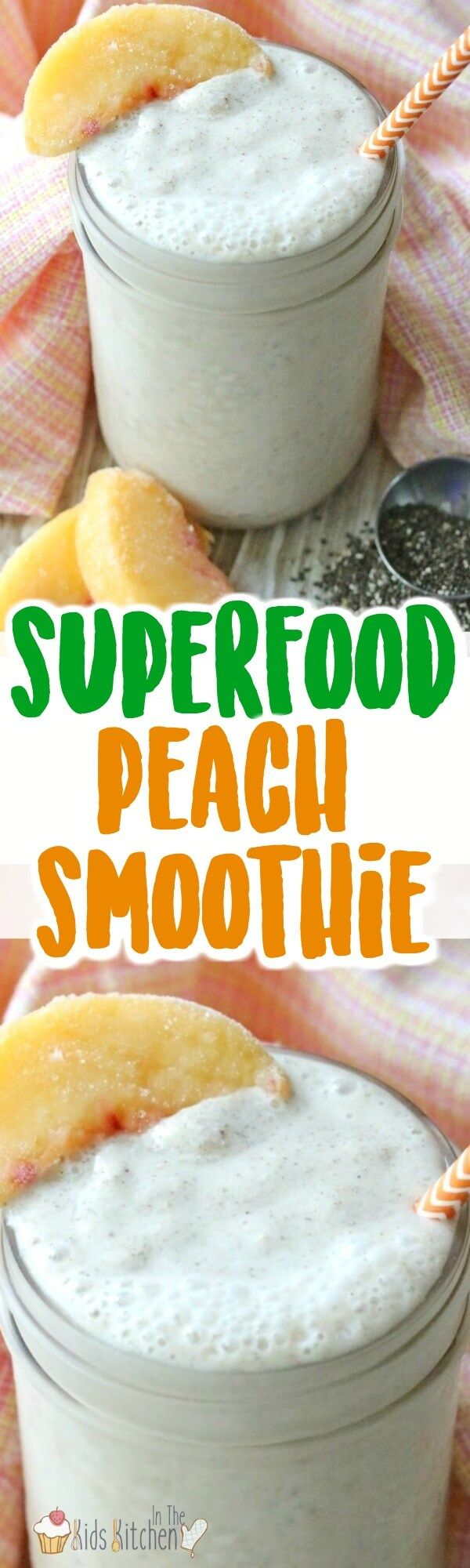 Start the day with a superfood kick! This healthy peach smoothie is full of goodies and easy to make! Vitamins, calcium, and more! (Bonus: it's kid-approved)!) #smoothies #healthyfood