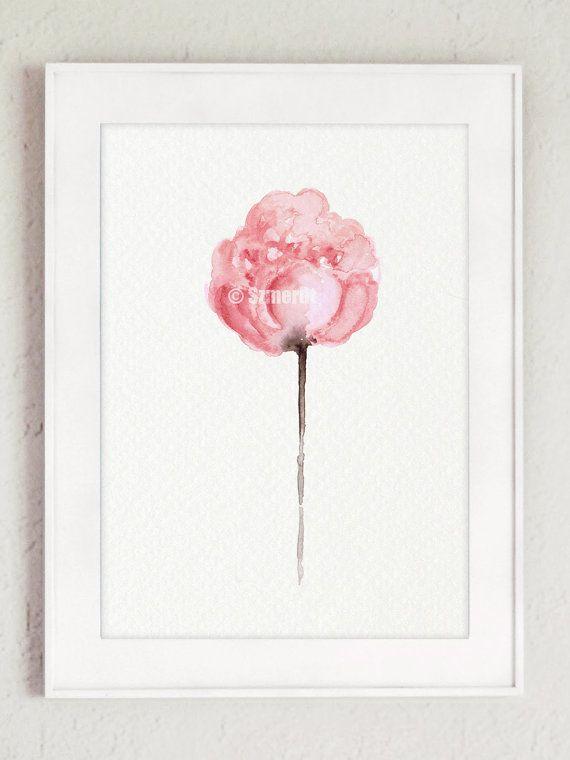 Juego de peonía de 3 Resumen estampado de flores peonías Art