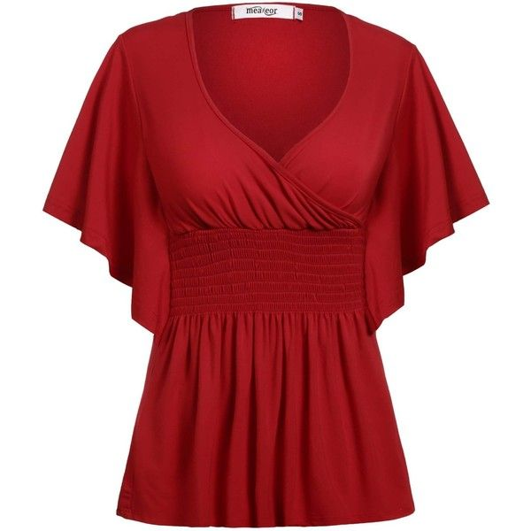Meaneor Women's Plus Size Slimming V-neck Smocked Empire Waist Top... ($23) ❤ liked on Polyvore featuring tops, blouses, red v neck blouse, empire waist blouse, v neck blouse, smocked blouse and smocked top