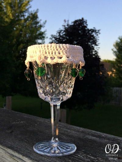 Lacy Beaded Wine Glass Cover -- absolutely lovely