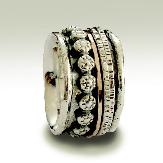 Silber-Eheringe Meditation-Band silber gold Ring von artisanlook
