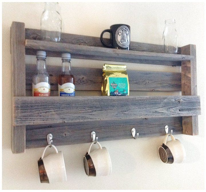 Reclaimed Coffee and Tea Shelf with 4 Cup Holder and Display Shelf