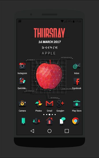 Darko - Icon Pack v1.5 [Paid]   Darko - Icon Pack v1.5 [Paid]Requirements:4.0Overview:Darko: A dark set with shadow for depth.  Use it with any dark wallpaper for better depth effect. Note: Screenshots are made using Nova Launcher by setting icon size to 110%.  What's included:   2.500  HD icons (192x192)  44 matching HD cloud wallpapers  Launchers support: Action Adw AdwEX Apex Atom Aviate GO NextNova Smart Solo...  Icon masking for un-themed icons  Dynamic calendar (For Nova Launcher)…