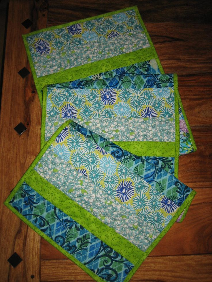 "Abstract Aqua Blue Green Flowers Spring Summer Contemporary Table Runner, 100% Cotton Fabrics, Reversible, 14 x 61"" by TahoeQuilts on Etsy"