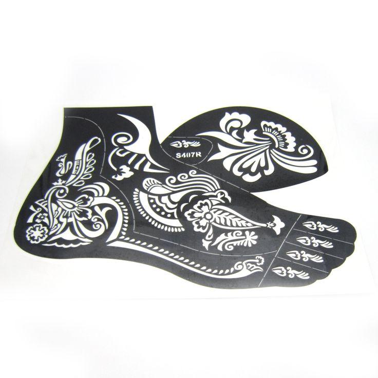 1pcs Henna Tattoo Stencils For Feet Body Paint,Large Flower Glitter Airbrush Mehndi Right Foot Stencil Templates 24*16.5cm S407R
