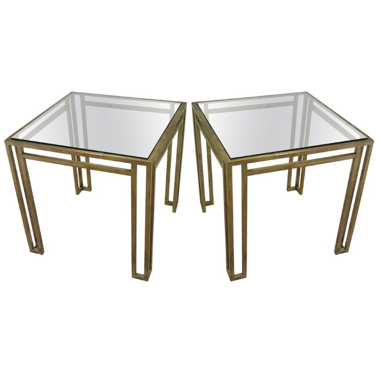 Pair Billy Baldwin Brass And Glass End Tables