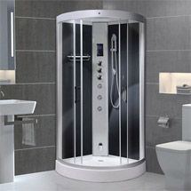 AquaLusso - Alto 95 - 950 x 950mm Quadrant Steam Shower - Carbon Black