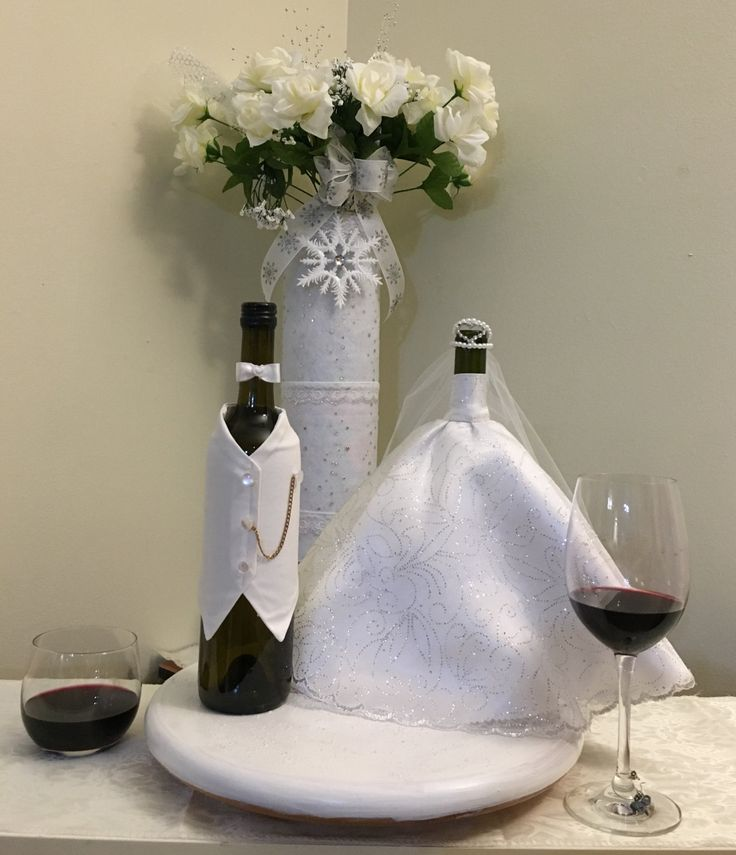 Wine bottle Bride & Groom cover by OnceUponcraftdesigns on Etsy
