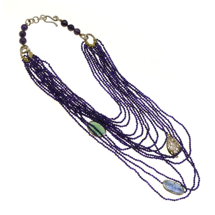 Necklace made of sterling silver 925 with amethyst and quartz stones