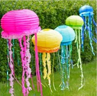 "Party Frosting | awesome ""Underwater"" theme party! Jelly fish made of festive paper lanterns-so much better than balloons."