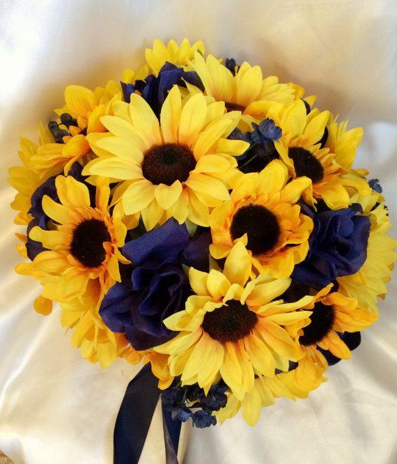 Sunflower and Navy Bouquet Sunflower Wedding by MyFairyTaleFlowers