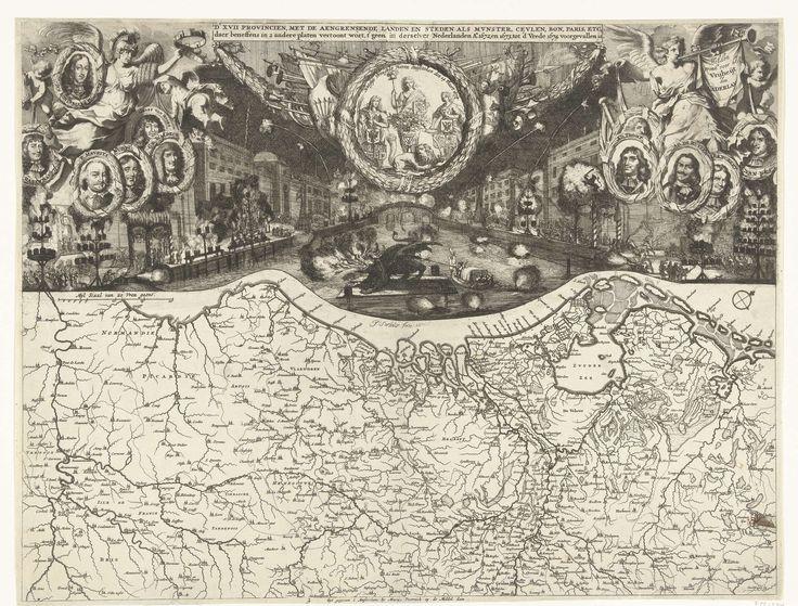 Isaac Sorious   Vreugdevuren te Den Haag bij de Vrede van Westminster, 1674, Isaac Sorious, Marcus Willemsz. Doornick, 1674   Vreugdevuren te afgestoklen te Den Haag bij de viering van de Vrede van Westminster op 19 februari 1674. Op de gracht wordt het vuurwerk in een draak op een gracht afgestoken. Daarboven in een lauwerkrans de Vrede, de Hollandse Leeuw en twee provinciemaagden. Links en rechts de Overwinning en de Faam met medaillons met portretten van de belangrijkste personen…