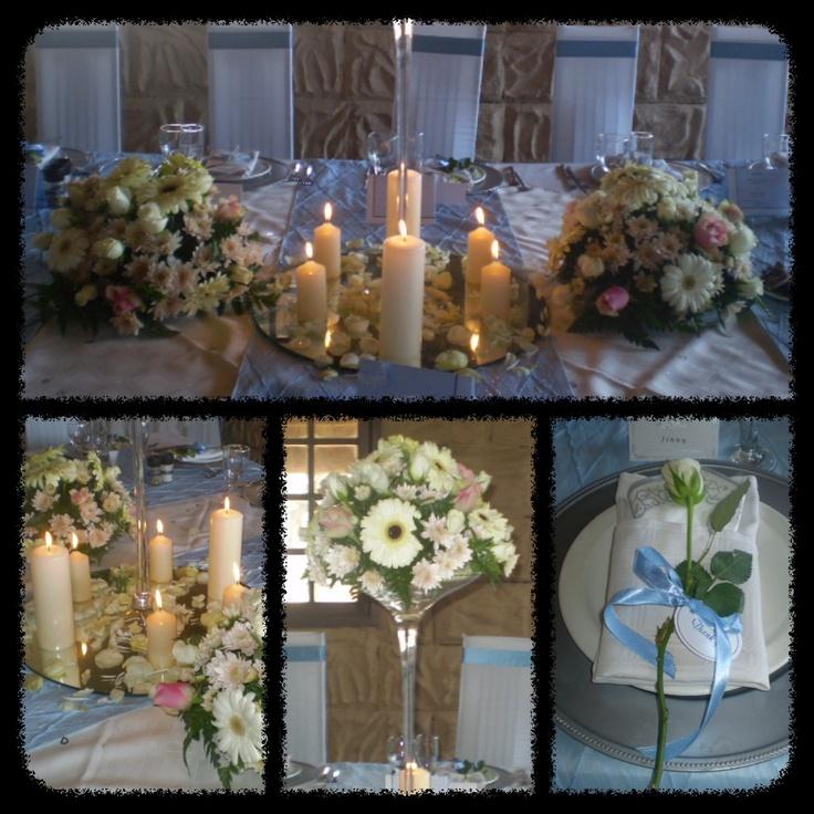 WEDDING : white, blue, pink.