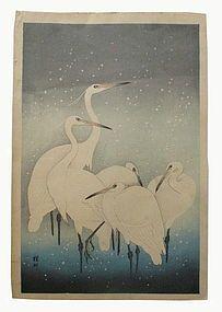 Japanese Woodblock Print of Herons By Ohara Koson