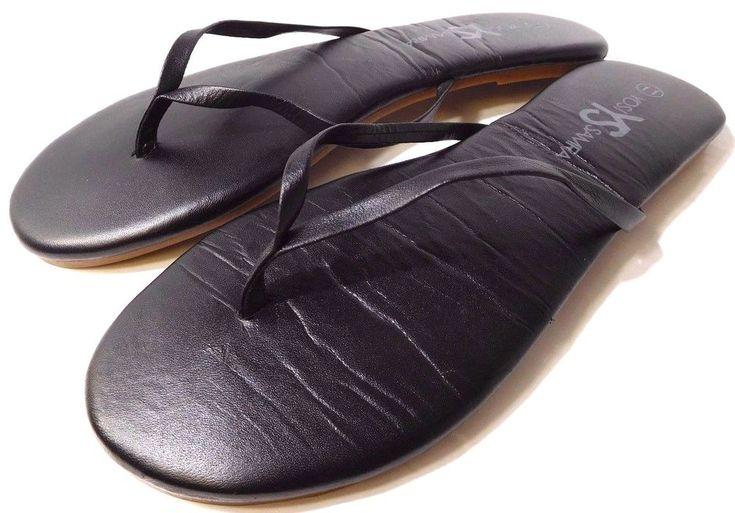 Yosi Samra Roee Sandals Soft Leather Cushioned Black US Size 11M NEW #YosiSamra #FlipFlops