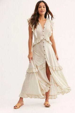 549b2e290a Amelia Maxi Dress - Off-White Tiered Ruffles Maxi Dress - White Button  Front Maxi