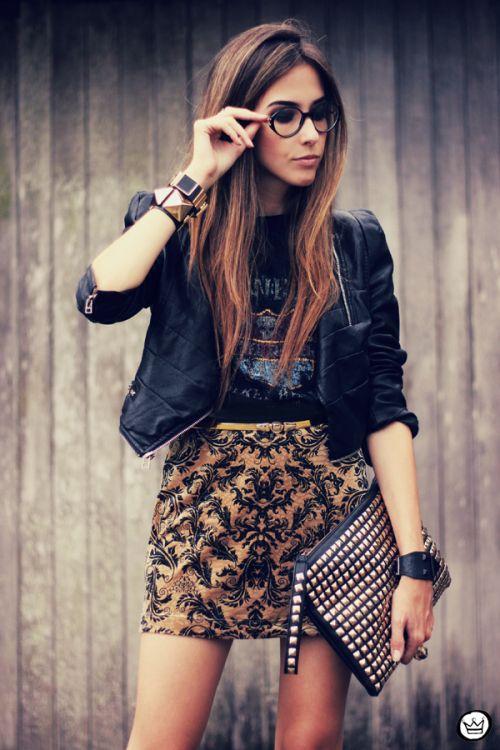 FashionCoolture 23.03.2013 look du jour Labellamafia velvet baroque skirt Romwe studded (2)