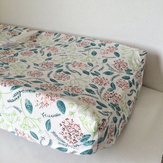 Baby Girls Bedding - Crib Sheets / Mini Crib Sheet - Changing Pad Cover / Floral Crib Sheet / Fitted Baby Sheet
