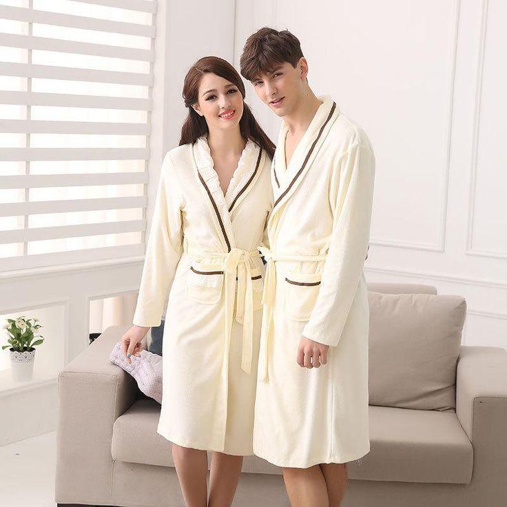 2015 New Luxury #Couples Robe Lovers Pajamas Nightgown Terry Towel Bathrobe Long Sleeve Men Women'S Pijamas Sleepwear Nightwear M L Xl Xxl From Kayioa, $22.93 | Dhgate.Com