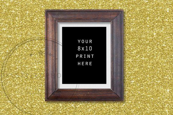 Empty Wood Frame/ Gold Glitter Background/ by KLStyledPhotos