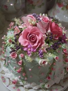Roses on mint green cake...